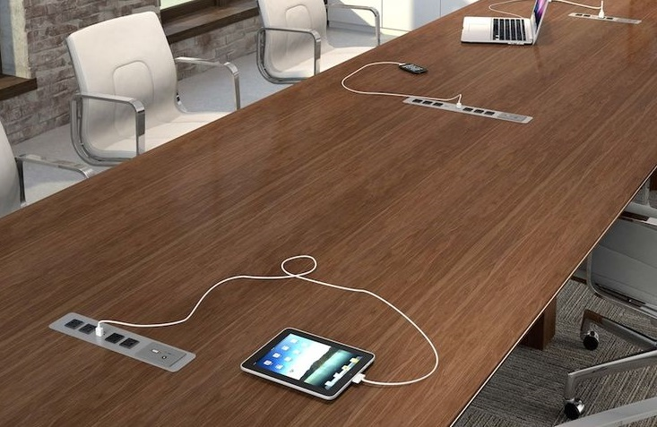 conference table with power outlers